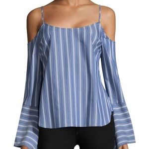 BCBG Sudbee Cold Shoulder Bell Sleeve Top